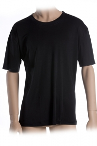 Basic T-Shirt, 100% Seide, Interlock, Schwarz, XL