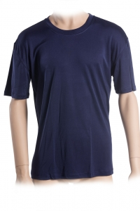 Basic T-Shirt, 100% Seide, Interlock, Dunkelblau, XXL