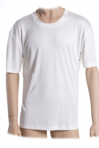 Basic T-Shirt, 100% Seide, Interlock, Weiss, S