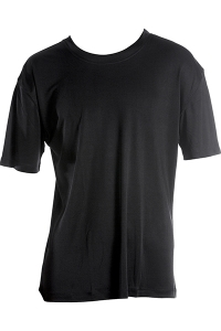 Basic T-Shirt, 100% Seide, Interlock, Schwarz, S